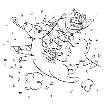 Livro de colorir do unicórnio super fofo para a celebração do aniversário