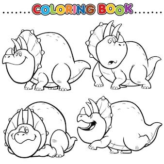 Livro de colorir dos desenhos animados - personagem de dinossauros