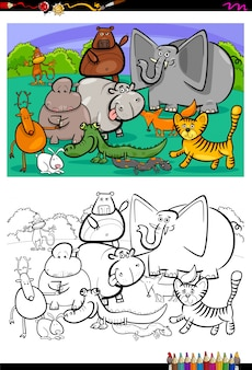 Livro de colorir dos personagens dos animais dos desenhos animados