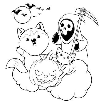 Livro de colorir halloween com um lindo husky 23