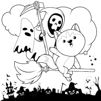 Livro de colorir halloween com um lindo husky 3