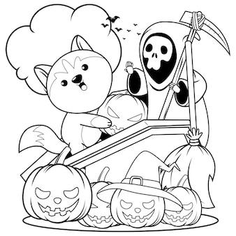 Livro de colorir halloween com um lindo husky 4