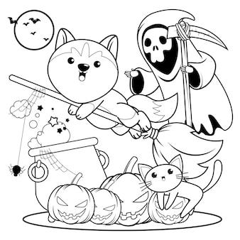 Livro de colorir halloween com um lindo husky10