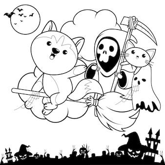 Livro de colorir halloween com um lindo husky15