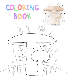 Livro de colorir infantil com animais dos desenhos animados. cogumelos fofos