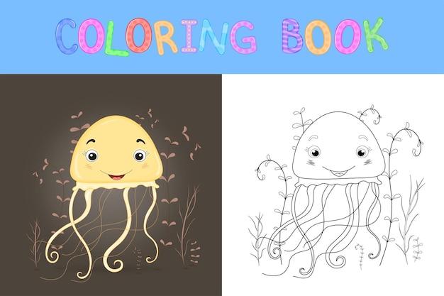 Livro de colorir infantil com animais dos desenhos animados. tarefas educacionais para crianças pré-escolares água-viva fofa.