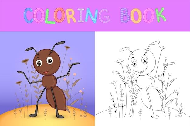 Livro de colorir infantil com animais dos desenhos animados. tarefas educacionais para crianças pré-escolares formiga bonita.