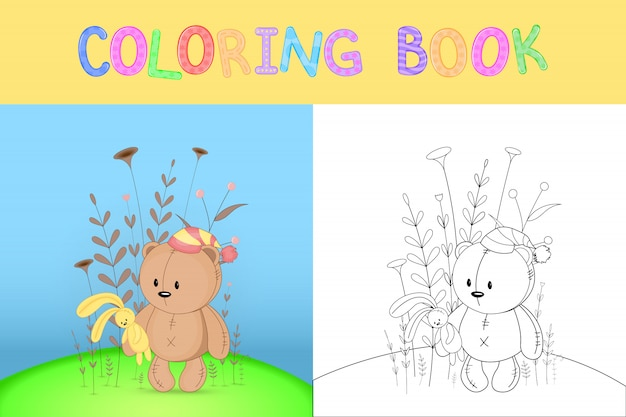 Livro de colorir infantil com animais dos desenhos animados