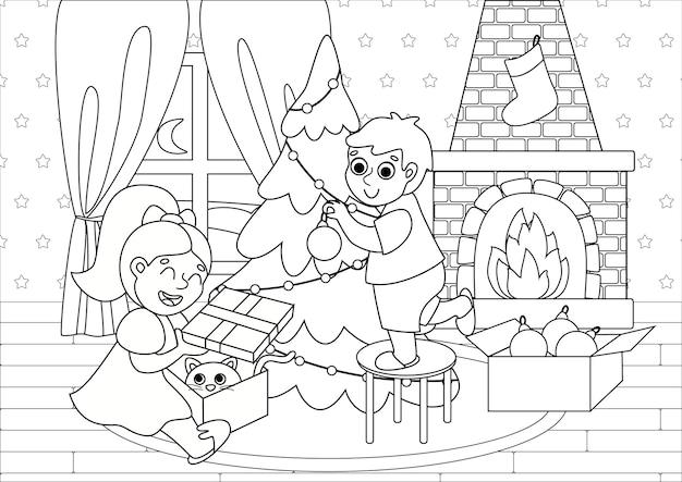 Livro de colorir infantil com crianças fofas decorando a árvore de natal e abrindo presentes.