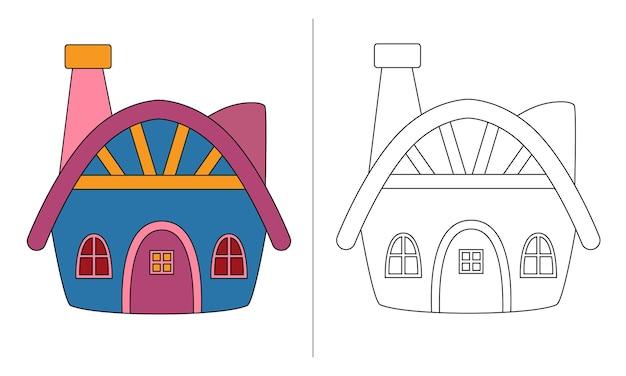 Livro de colorir infantil ilustração blue dwarf house