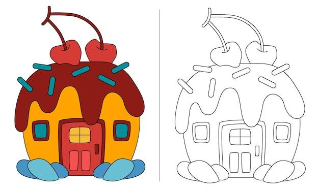 Livro de colorir infantil ilustração casa bolo com cereja