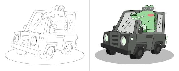 Livro de colorir infantil ilustração crocodilo dirigindo carro