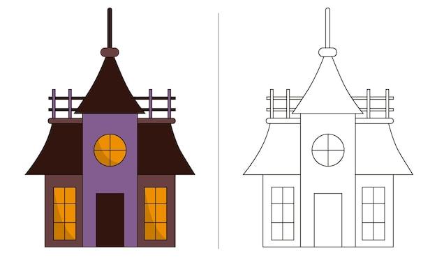 Livro de colorir infantil ilustração de halloween good castle