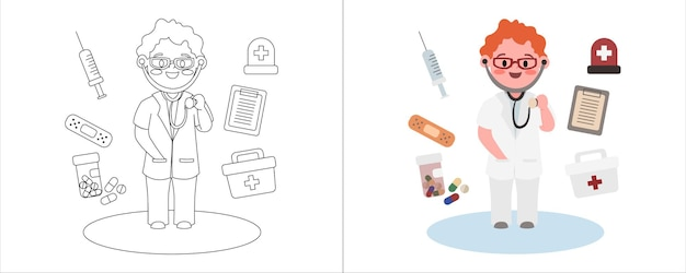 Livro de colorir infantil ilustração médico com seu equipamento