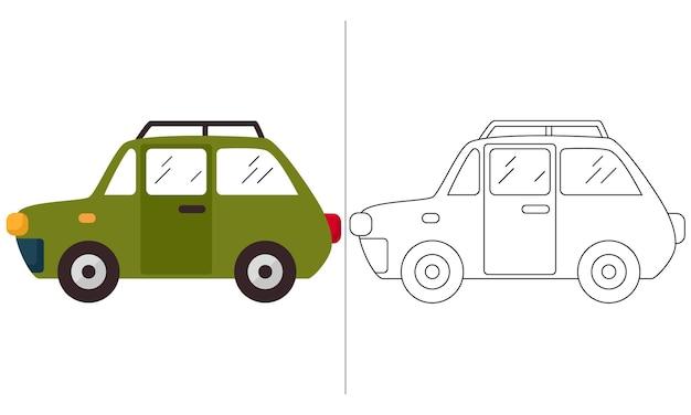 Livro de colorir infantil ilustração verde classic mini car