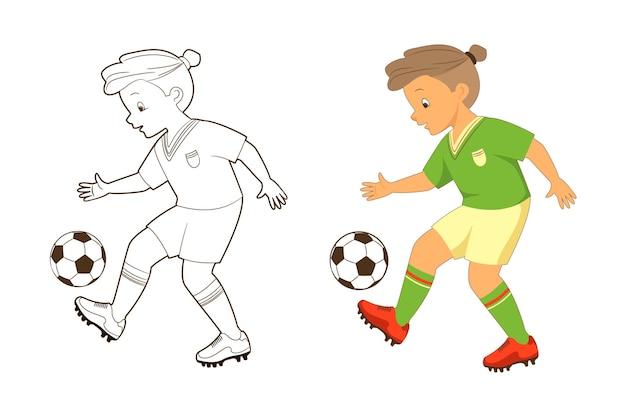 Livro de colorir, jogador de futebol masculino chuta a bola. ilustração em vetor em desenho animado, estilo simples, arte de linha