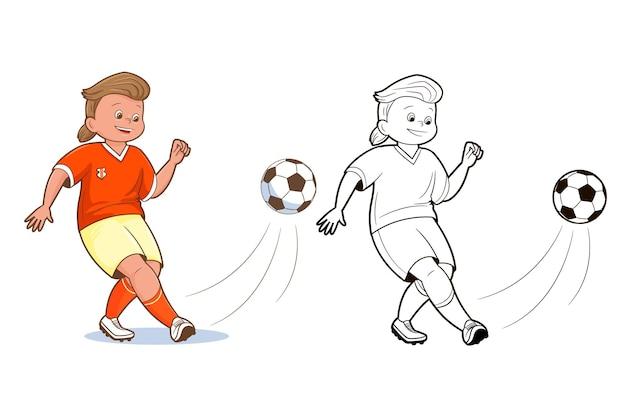 Livro de colorir, jogadores de futebol adolescentes chutam a bola de futebol. vetor, ilustração em estilo cartoon plana, quadrinhos