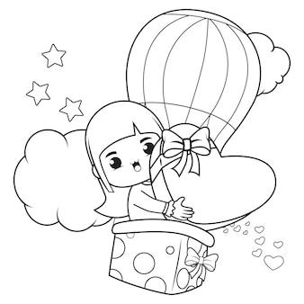 Livro de colorir linda garota segurando um coração