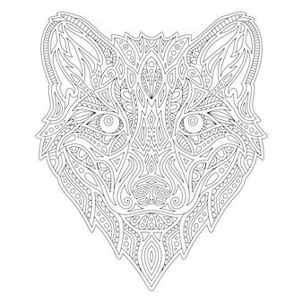 Livro de colorir linha com cabeça de lobo