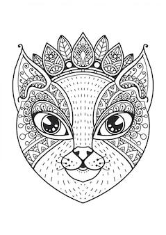 Livro de colorir mandala cabeça de gato.
