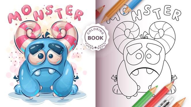 Livro de colorir monstro fofo para crianças