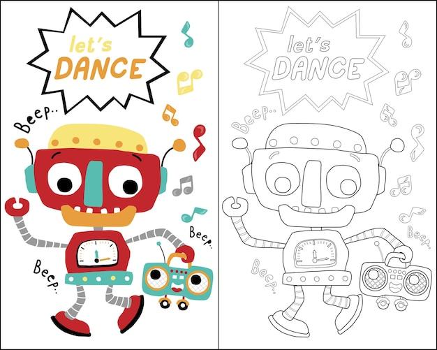 Livro de colorir ou página com desenhos animados de dança de robôs