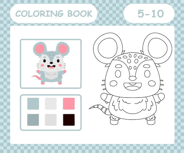 Livro de colorir ou página de desenho animado bonito mouse
