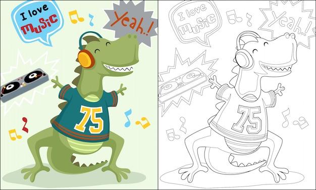 Livro de colorir ou página do desenho animado de dançarino de dinossauro