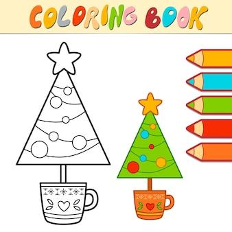 Livro de colorir ou página para colorir para crianças. ilustração em vetor árvore de natal em preto e branco