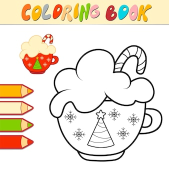 Livro de colorir ou página para colorir para crianças. ilustração em vetor copo de natal em preto e branco
