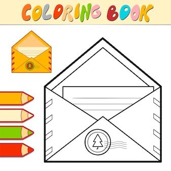 Livro de colorir ou página para colorir para crianças. ilustração em vetor envelope de natal em preto e branco