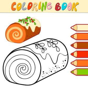 Livro de colorir ou página para colorir para crianças. ilustração em vetor natal sobremesa em preto e branco