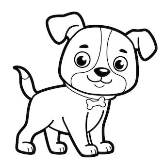Livro de colorir ou página para crianças. cachorro preto e branco