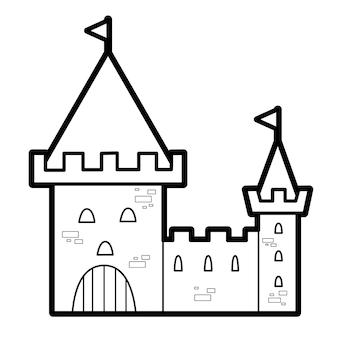 Livro de colorir ou página para crianças. castelo preto e branco