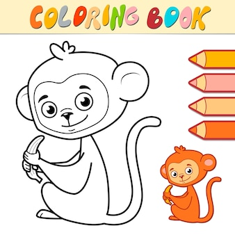Livro de colorir ou página para crianças. ilustração de macaco preto e branco