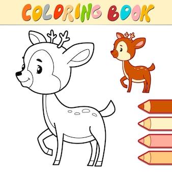 Livro de colorir ou página para crianças. ilustração em preto e branco de cervo
