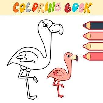 Livro de colorir ou página para crianças. ilustração em preto e branco de flamingo