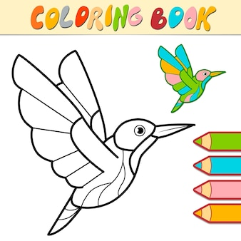 Livro de colorir ou página para crianças. ilustração em preto e branco de pássaro