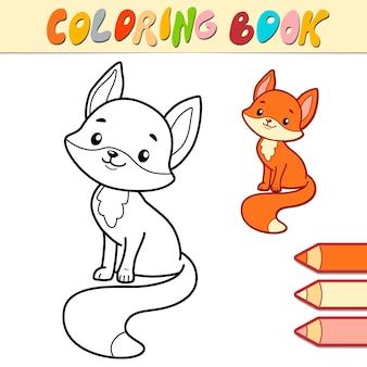 Livro de colorir ou página para crianças. ilustração em preto e branco de raposa