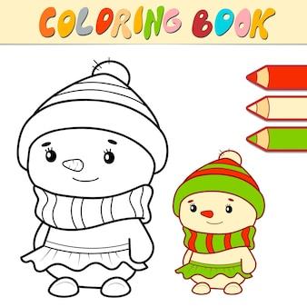 Livro de colorir ou página para crianças. ilustração em vetor boneco de neve em preto e branco de natal