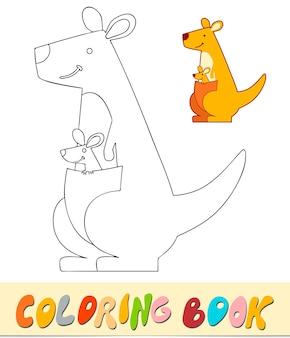 Livro de colorir ou página para crianças. ilustração em vetor canguru em preto e branco