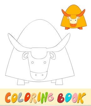 Livro de colorir ou página para crianças. ilustração em vetor iaque preto e branco