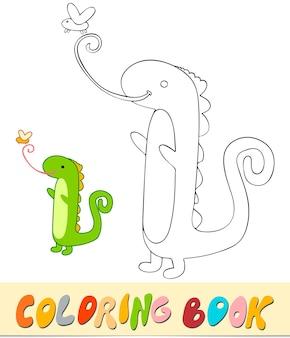 Livro de colorir ou página para crianças. ilustração em vetor iguana preto e branco
