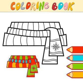 Livro de colorir ou página para crianças. ilustração em vetor lenço de natal em preto e branco