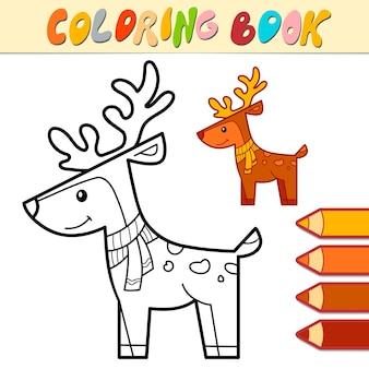 Livro de colorir ou página para crianças. ilustração em vetor natal cervo preto e branco