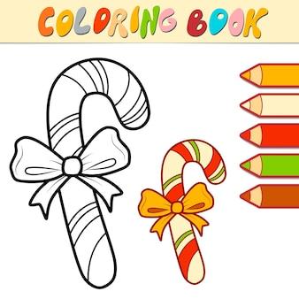 Livro de colorir ou página para crianças. ilustração em vetor natal doce em preto e branco