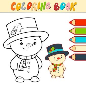 Livro de colorir ou página para crianças. ilustração em vetor natal neve homem preto e branco