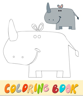 Livro de colorir ou página para crianças. ilustração em vetor rhino preto e branco