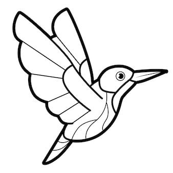 Livro de colorir ou página para crianças. pássaro preto e branco