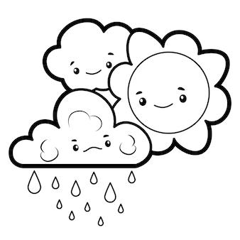 Livro de colorir ou página para crianças. sol preto e branco e nuvem